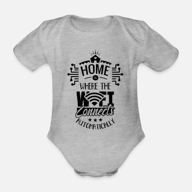 Web Home is where your Wi-Fi connects Internet - Organic Short-Sleeved Baby Bodysuit