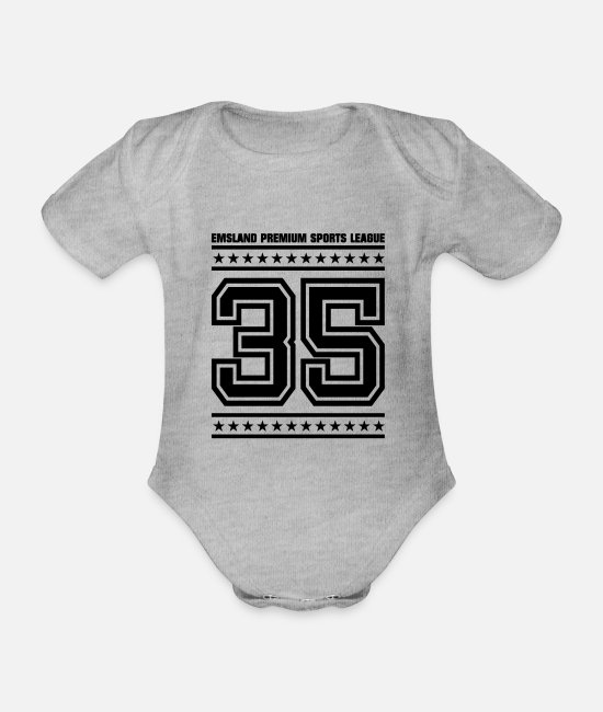 League Baby Bodysuits - EMSLAND Premium Sports League35 - Organic Short-Sleeved Baby Bodysuit heather grey