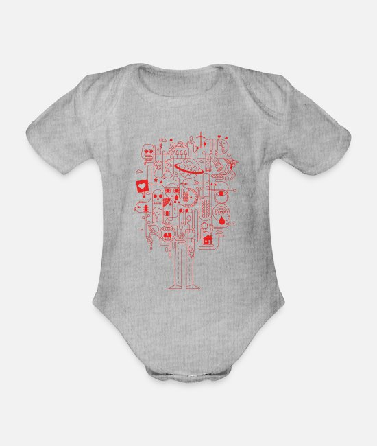 Pattern Baby Bodysuits - Creative - Organic Short-Sleeved Baby Bodysuit heather grey