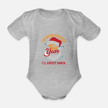 Christmassy I'm expecting Santa Claus - Xmas motive - Organic Short-Sleeved Baby Bodysuit