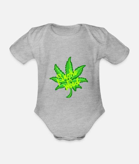 Nature Baby Bodysuits - Smoke Weed - Organic Short-Sleeved Baby Bodysuit heather grey