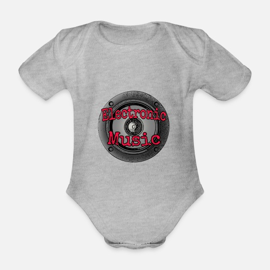 Bass Baby Clothes - Electronic music - Organic Short-Sleeved Baby Bodysuit heather grey
