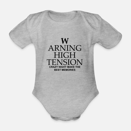 Tension Baby Clothes - warning high tension - Organic Short-Sleeved Baby Bodysuit heather grey