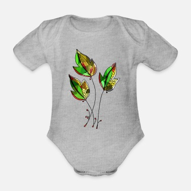 Colorful Leaves Colorful leaves - Organic Short-Sleeved Baby Bodysuit
