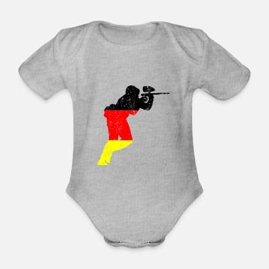 Paintball player german retro gift - Organic Short-Sleeved Baby Bodysuit