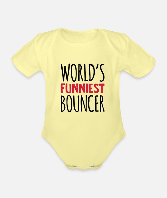 Man Baby Clothes - worlds funniest bouncer - Organic Short-Sleeved Baby Bodysuit washed yellow