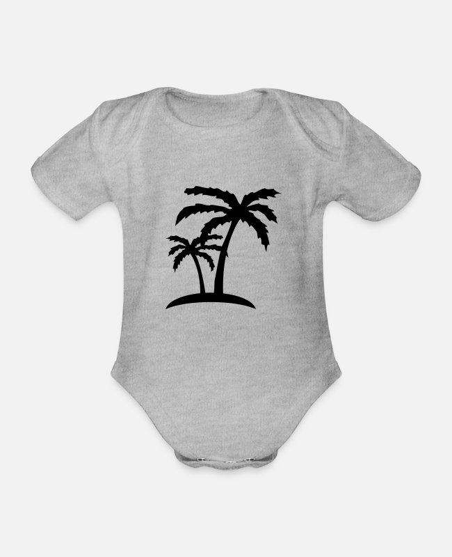 Beach Baby Bodysuits - palms - Organic Short-Sleeved Baby Bodysuit heather grey