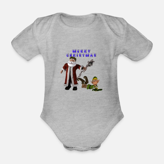 Snowman Baby Clothes - Santa Elf Merry Christmas - Organic Short-Sleeved Baby Bodysuit heather grey