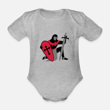 Shape Underwear knight kneeling medieval patjila - Organic Short-Sleeved Baby Bodysuit