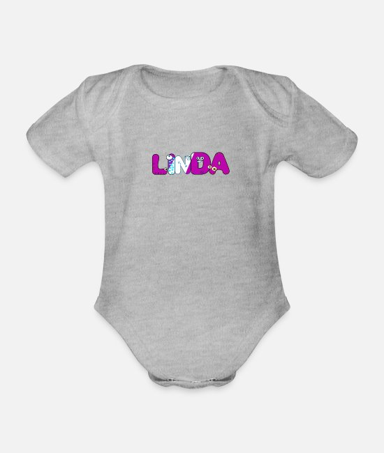 First Name Baby Clothes - Linda - Organic Short-Sleeved Baby Bodysuit heather grey
