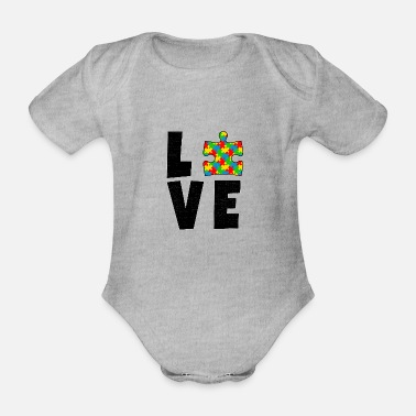 Aspergers Autism love autist awareness puzzle gift - Organic Short-sleeved Baby Bodysuit