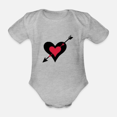 Bleeding ➸♥Ouch-Hearts struck by Cupid's arrows♥↢ - Organic Short-Sleeved Baby Bodysuit