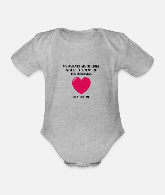 Hashtag Baby Bodysuits - New Baby for Christmas - Organic Short-Sleeved Baby Bodysuit heather grey