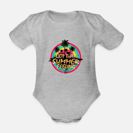 Typography Baby Clothes - Summer Feeling (Palms) 01 - Organic Short-Sleeved Baby Bodysuit heather grey