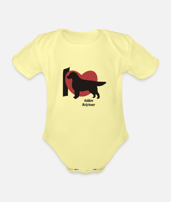 Retriever Baby Clothes - Golden Retriever - Organic Short-Sleeved Baby Bodysuit washed yellow