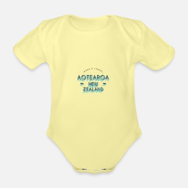 AOTEAROA NEW ZEALAND Work and Travel - Organic Short-Sleeved Baby Bodysuit