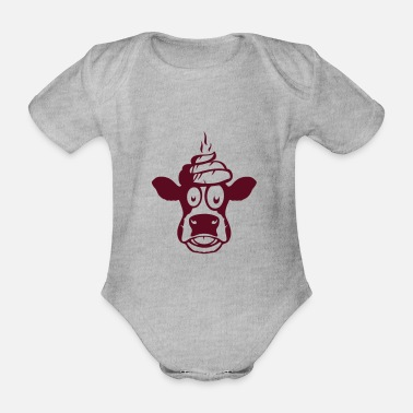 Poo cow drawing poop poo poo - Organic Short-Sleeved Baby Bodysuit