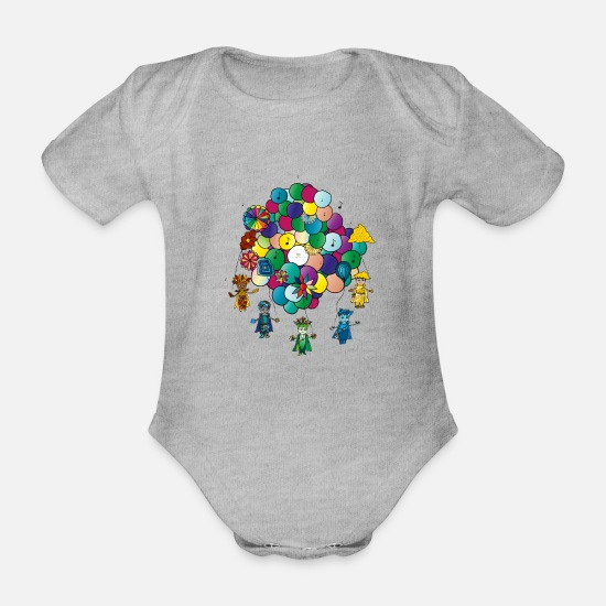 Birthday Babykleidung - Happy Birthday - Baby Bio Kurzarmbody Grau meliert