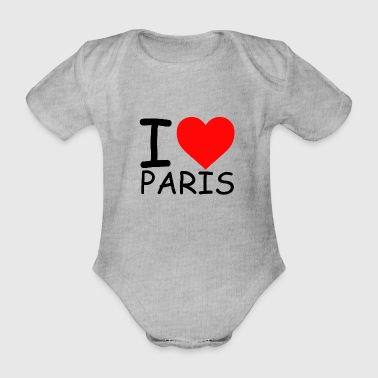 I Love Paris Libe Paris Love Paris Heart Parigi - Body ecologico per neonato a manica corta