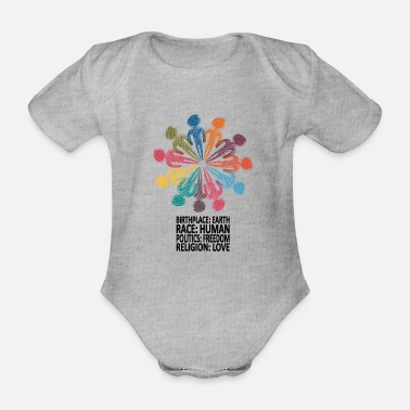 Against Against racism (English shirt) - Organic Short-sleeved Baby Bodysuit