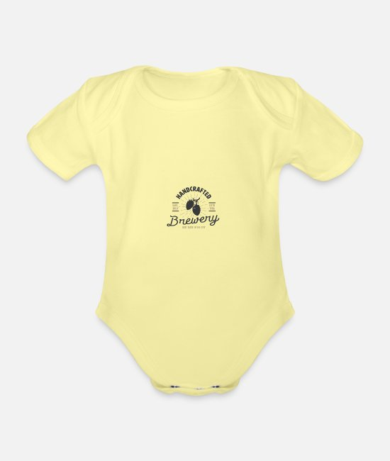 Brewery Baby Clothes - Brewery - Organic Short-Sleeved Baby Bodysuit washed yellow