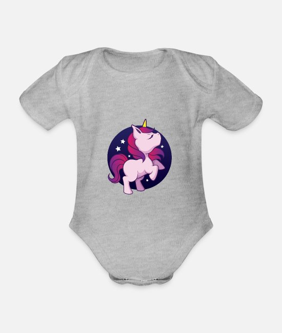 Proud Baby Bodysuits - Dreaming unicorn with starry sky - Organic Short-Sleeved Baby Bodysuit heather grey