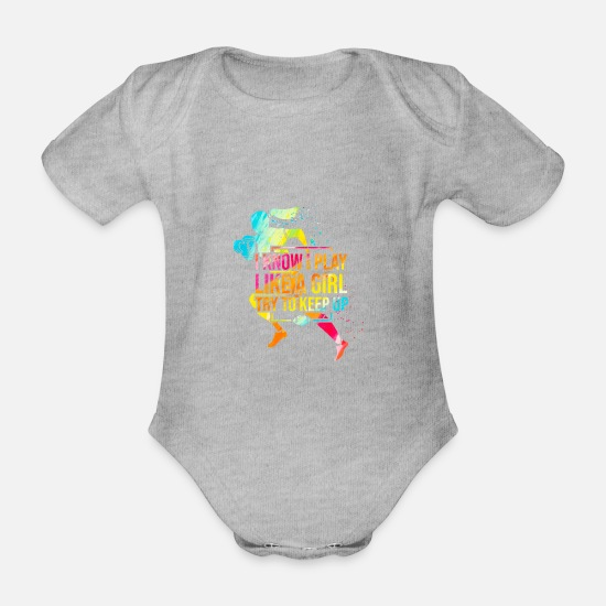 Birthday Baby Clothes - I know I play like a girl Football Gift - Organic Short-Sleeved Baby Bodysuit heather grey