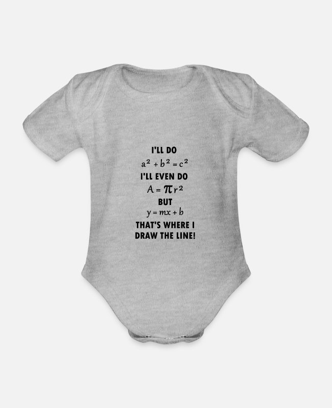 Maths Baby Bodysuits - Math formulas mathematician nerd science gift - Organic Short-Sleeved Baby Bodysuit heather grey