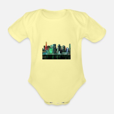Neon Beautiful 90s retro neon child design back to the 90s - Organic Short-Sleeved Baby Bodysuit