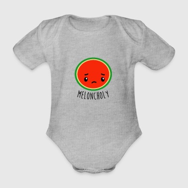 Meloncholy - Funny Watermelon - Organic Short-sleeved Baby Bodysuit