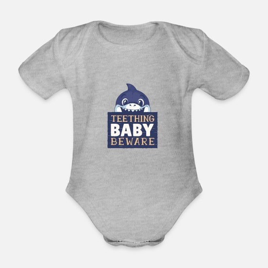 Shark Baby Clothes - Babies can bite / baby shark - Organic Short-Sleeved Baby Bodysuit heather grey