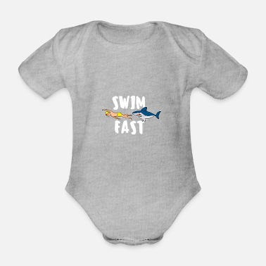 Backstroke Swim fast shark swim sayings float crawl - Organic Short-Sleeved Baby Bodysuit