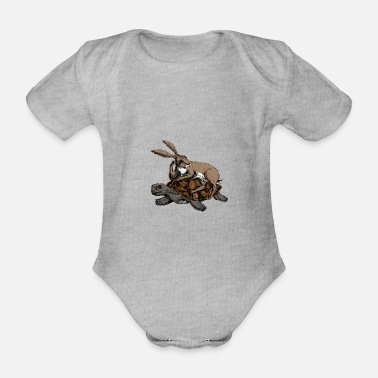 Love Collection V2 Hare and Tortoise - Organic Short-Sleeved Baby Bodysuit