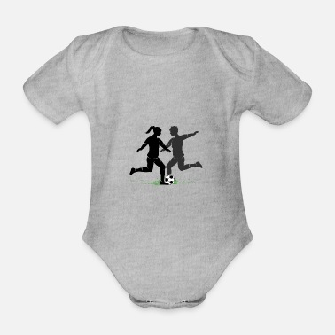 Kicker Female soccer players silhouette in the middle of the game - Organic Short-Sleeved Baby Bodysuit