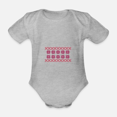 Norway Norway pattern 002 - Organic Short-Sleeved Baby Bodysuit