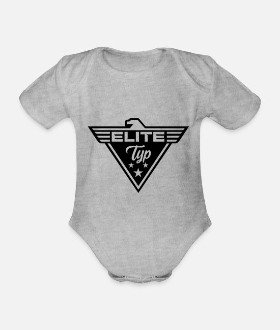 Body Builder Baby Clothes - Elite Bodybuilder bouncer VIP military - Organic Short-Sleeved Baby Bodysuit heather grey