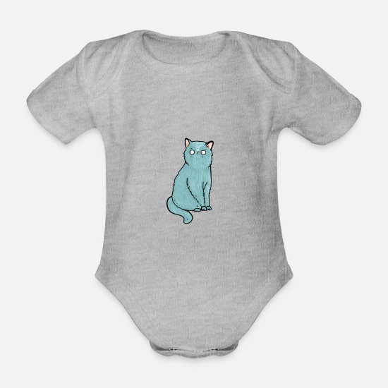 Bestsellers Q4 2018 Baby Clothes - Cat Animal Lover Illustration Animal Gift - Organic Short-Sleeved Baby Bodysuit heather grey