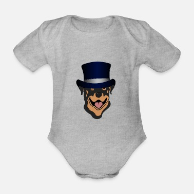 Cylinder Rottweiler with cylinder - Organic Short-Sleeved Baby Bodysuit