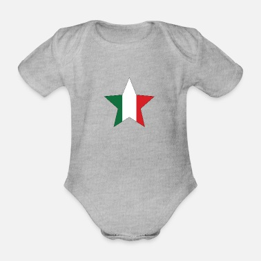 Italy Italy flag star with black frame - Organic Short-Sleeved Baby Bodysuit