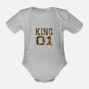 King 01 camouflage king - Organic Short-Sleeved Baby Bodysuit