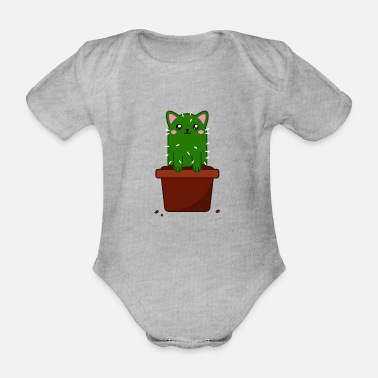 Catus Smol Catus - small baby cat cactus - Organic Short-Sleeved Baby Bodysuit