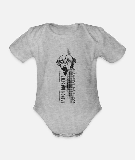 Vertical Baby Bodysuits - Dogue de Bordeaux - French Mastiff - Organic Short-Sleeved Baby Bodysuit heather grey
