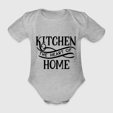 Since Kitchen The Heart Of Home - Koken - Keuken - Eten - Baby bio-rompertje met korte mouwen