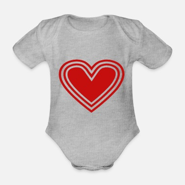 Heartily Heart Symbol Icon Love Red Valentine's Day Marry - Organic Short-Sleeved Baby Bodysuit