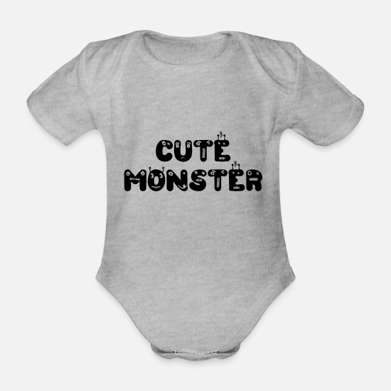 Girl Baby Clothes - Cute Monster Cute Monster Baby Romper Gift - Organic Short-Sleeved Baby Bodysuit heather grey