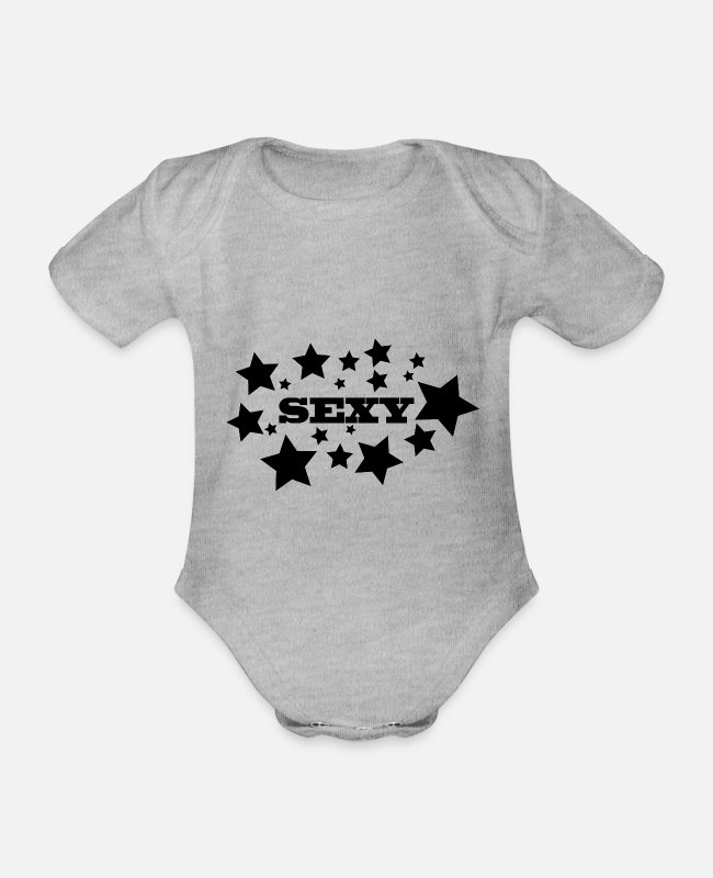 Star Baby Bodysuits - Sexy stars - Organic Short-Sleeved Baby Bodysuit heather grey