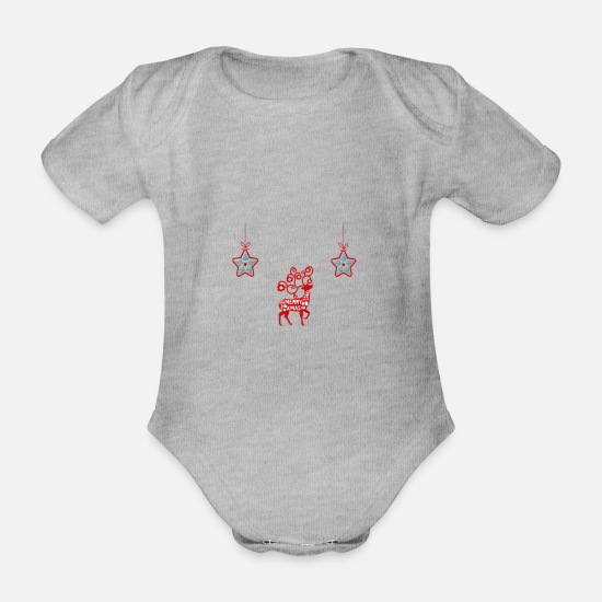 Stag Baby Clothes - Xmas - Organic Short-Sleeved Baby Bodysuit heather grey