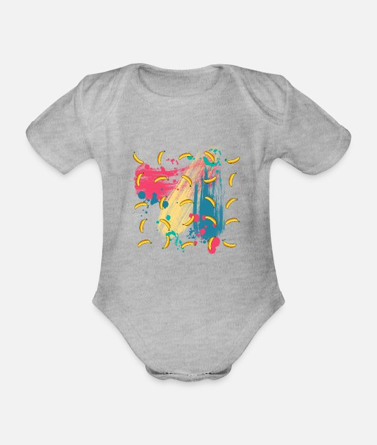 Spatter Baby Bodysuits - Banana pattern gift Colorful painter wallpaper splashes - Organic Short-Sleeved Baby Bodysuit heather grey