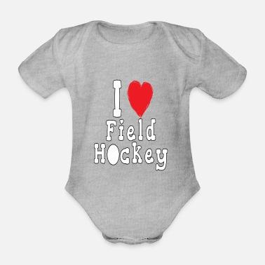 9f563e7cf9c i love field hockey - Organic Short-Sleeved Baby Bodysuit