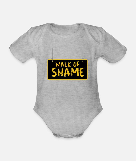 Meme Baby Bodysuits - Halloween Sexy Walk Of Shame Party Joke Gifts - Organic Short-Sleeved Baby Bodysuit heather grey